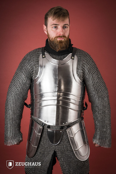 Cuirass with back Warrior with short tassets, polished L/XL (105-115 cm)