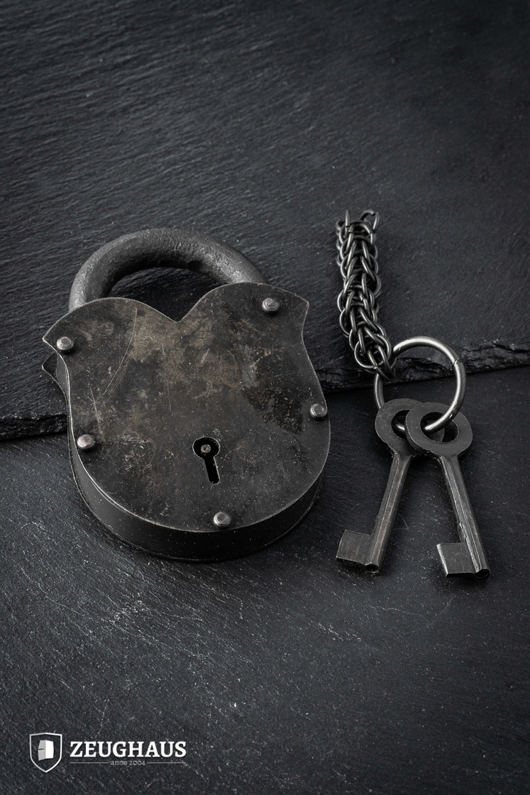 Antique Padlock With Chainmail Keychain Big Picture-0