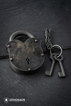 Antique Padlock With Chainmail Keychain