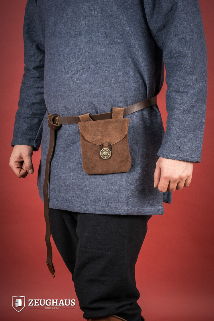 Medieval Pouch in Suede Leather Typ 1 brown Big Picture-0