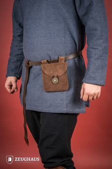 Medieval Pouch in Suede Leather Typ 1 brown