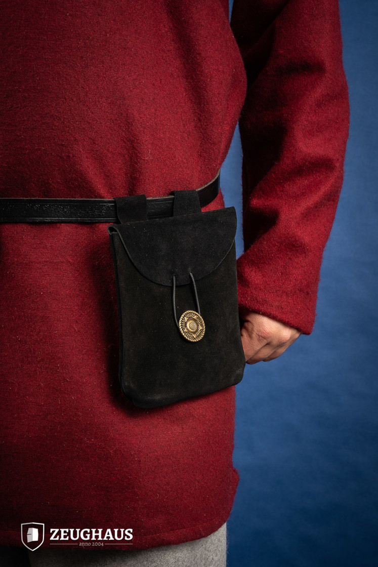 Medieval Pouch in Suede Leather Typ 1 black Big Picture-0