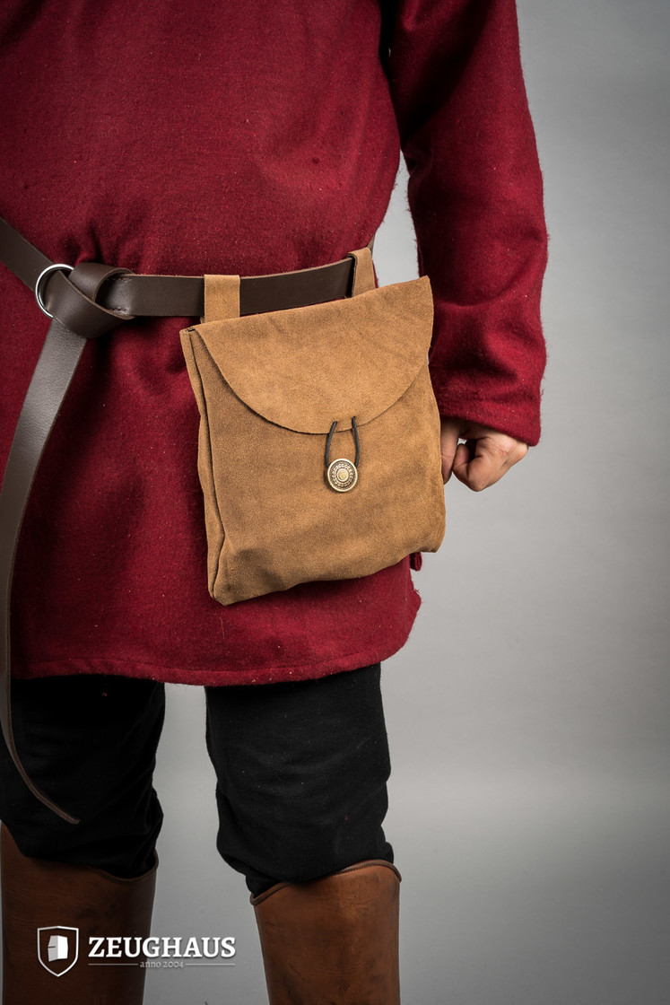 Medieval Pouch in Suede Leather Typ 2 brown Big Picture-0