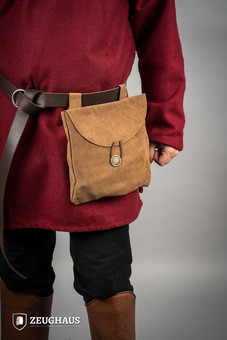 Medieval Pouch in Suede Leather Typ 2 brown