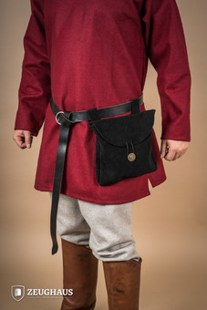 Medieval Pouch in Suede Leather Typ 2 black
