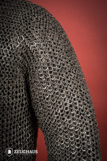 Hauberk Mail Shirt 9mm ID, RIVETED FLAT RINGS, stainless steel