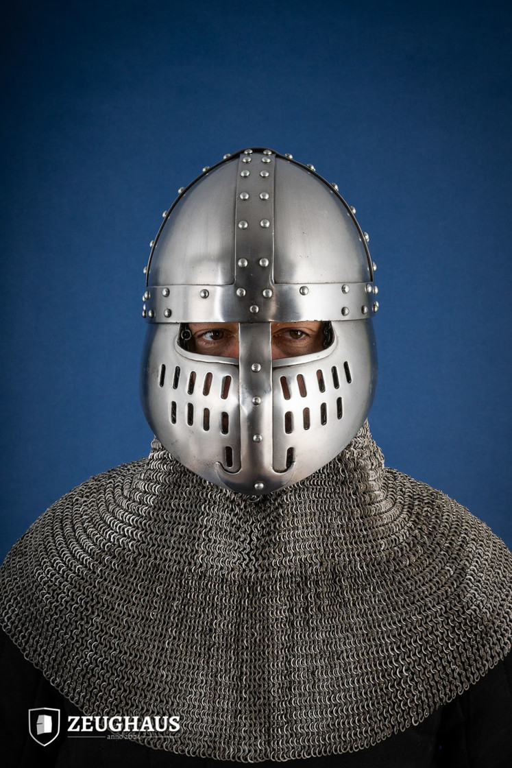 Norman Helmet with Face Guard, 12 C. style, polished Big Picture-0