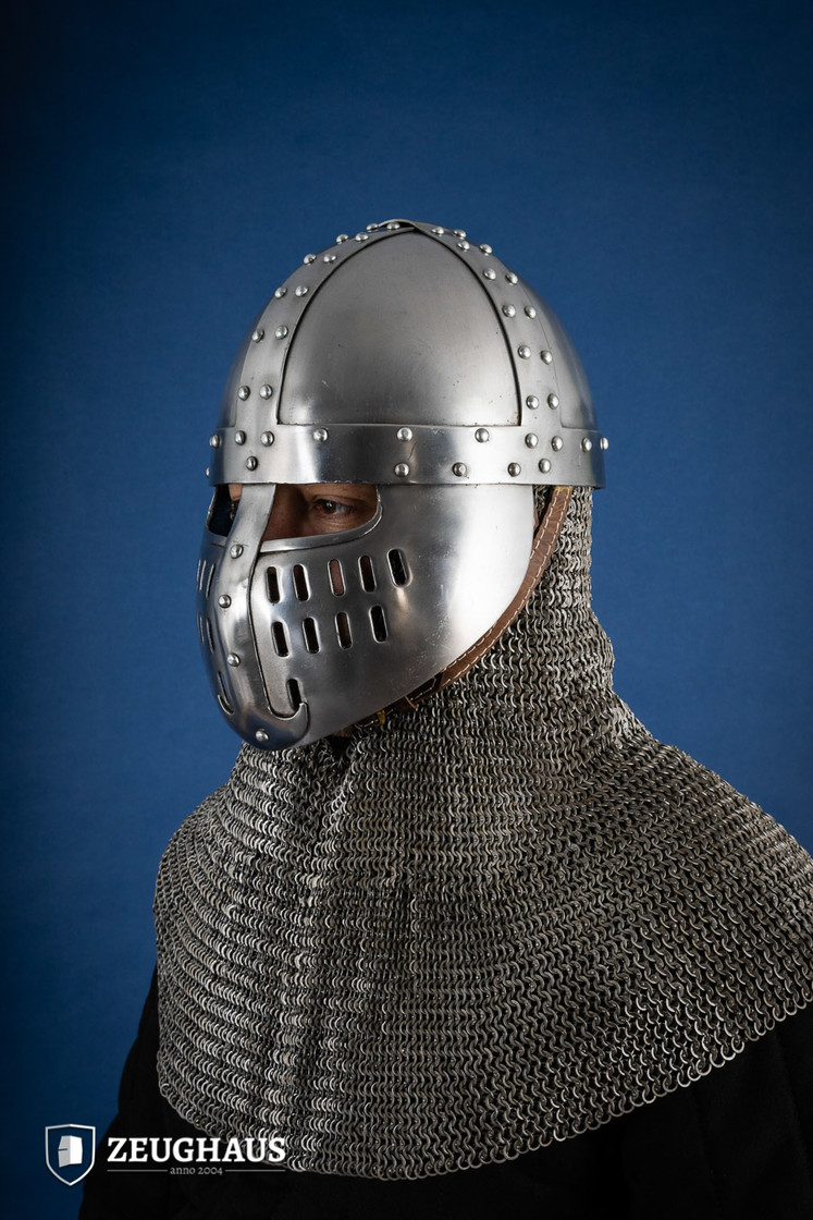 Norman Helmet with Face Guard, 12 C. style, polished Big Picture-1