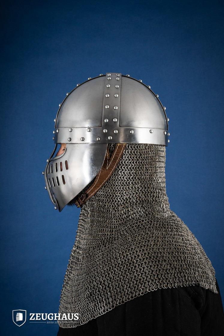 Norman Helmet with Face Guard, 12 C. style, polished Big Picture-2