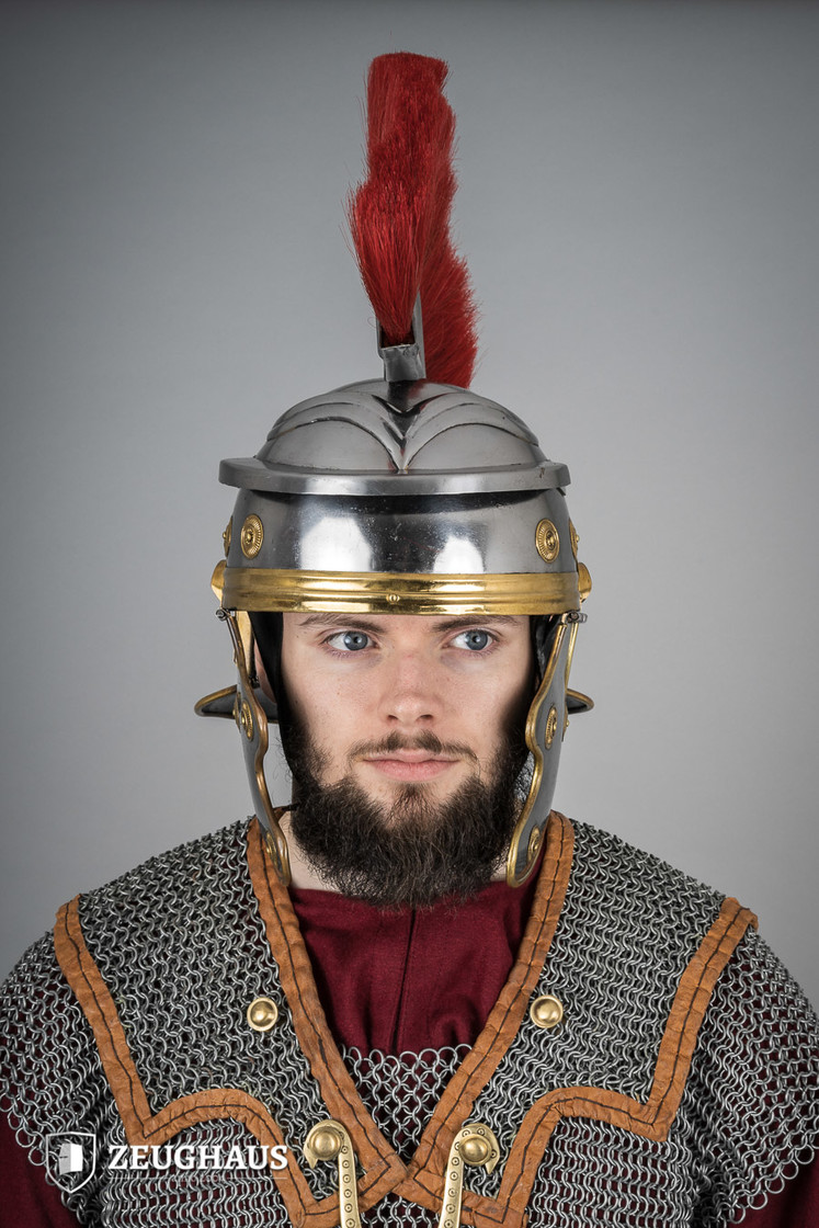 roman legionnaire helmet with horsehair crest, polished Big Picture-0