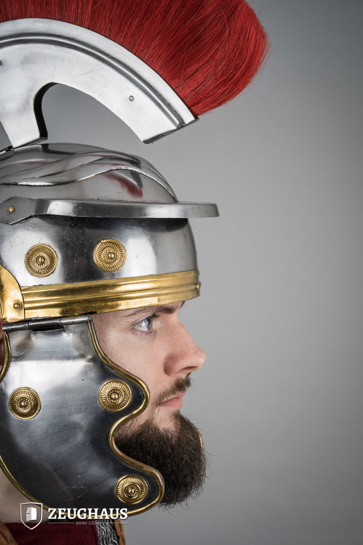 roman legionnaire helmet with horsehair crest, polished Big Picture-1