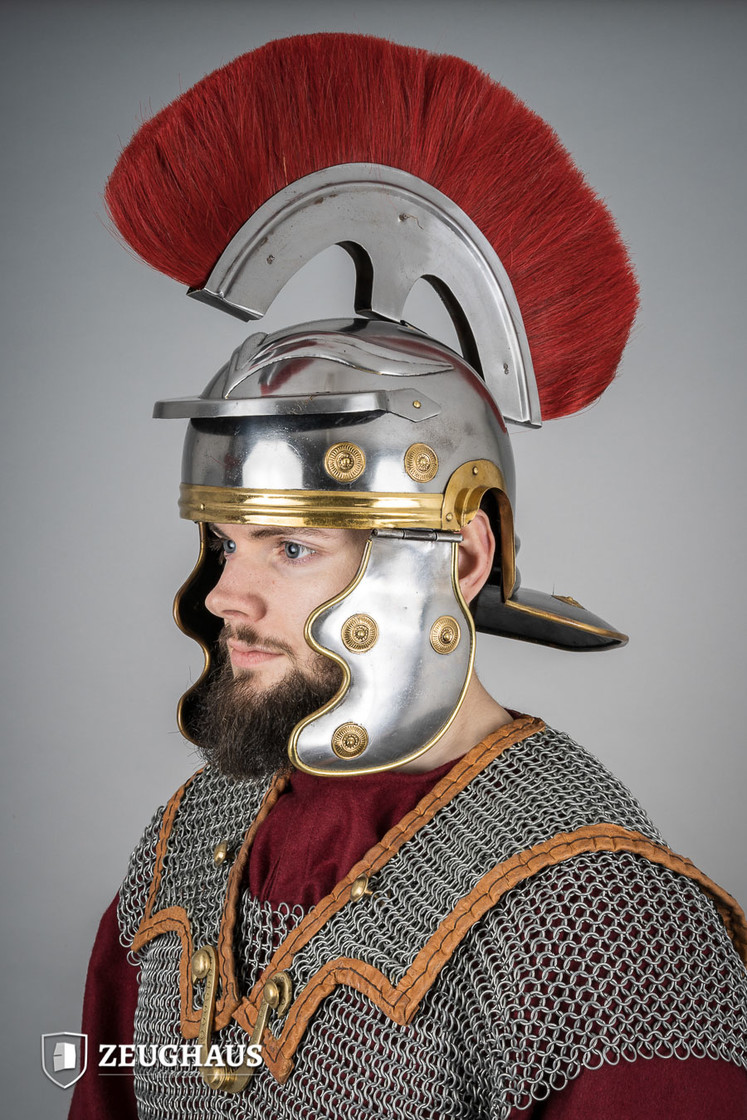 roman legionnaire helmet with horsehair crest, polished Big Picture-2