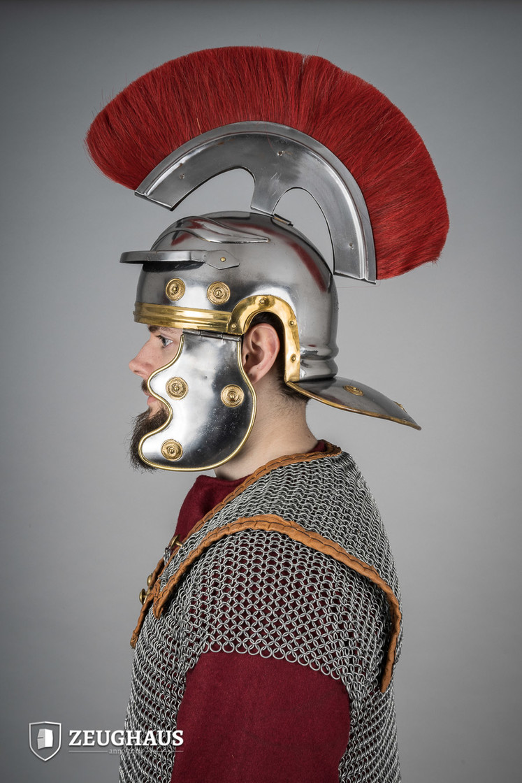 roman legionnaire helmet with horsehair crest, polished Big Picture-3