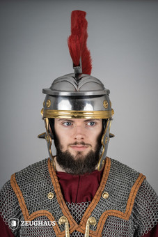 roman legionnaire helmet with horsehair crest, polished