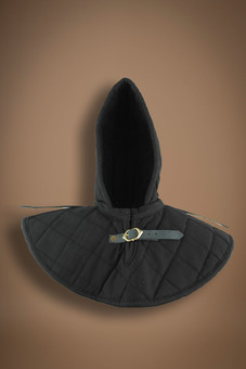 padded coif with collar, black