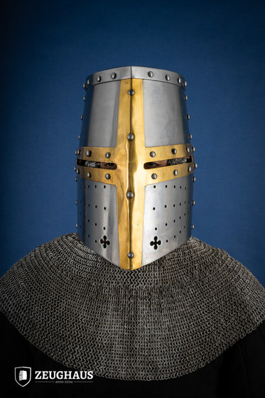Great Helmet Type 2 with Brass Cross (1,6 mm), polished